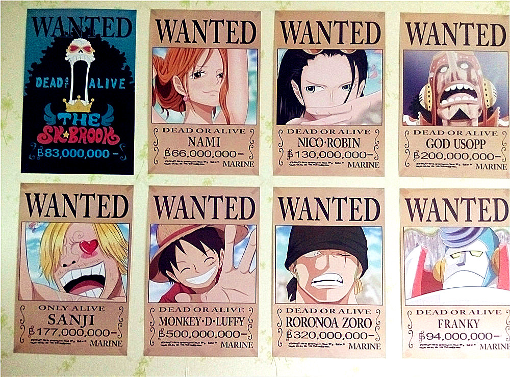 8 42x29cm new one piece wanted posters anime posters wall - One piece wanted poster ...