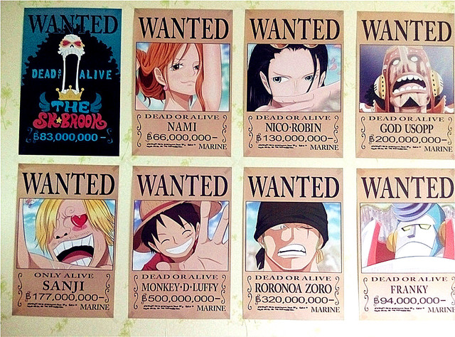 842x29cmNEW One Piece Wanted Posters Anime Wall Stickers Without