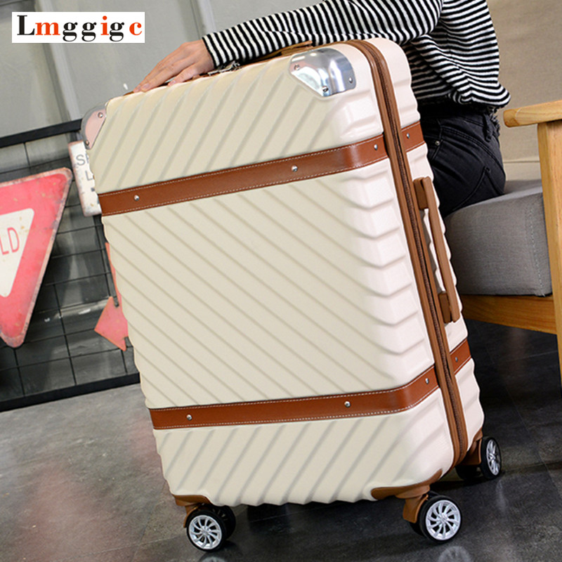 20222426 inch Rolling Luggage bag,Travel Suitcase,wheel Trunk,Trolley Case Valise,Universal Wheel ABS Box,Vintage Carry-On car trunk storage box folding suitcase with wheel portable new top quality travel trolley carts 3 colors daily usage