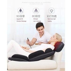 Image 4 - Shiatsu silla eléctrica de masaje corporal multifuncional, cojín de calefacción con vibración para relajación, cuello, espalda, oficina y hogar