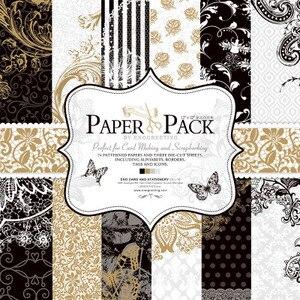Image 1 - 27 sheets/pack, 12 inch 고급스러운 흑백 cardstock 만들기 diy scrapbooking 배경 종이 팩 세트, 종이 접기, 종이 공예