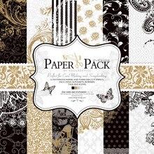 27 sheets/pack, 12 inch luxe zwart wit cardstock maken DIY Scrapbooking achtergrond Papier pack Set, origami, papier ambachtelijke