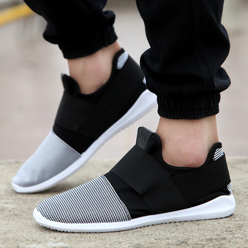 Cheap free shipping air mesh fabric mens loafers black white color cloth patchwork leisure canvas shoes