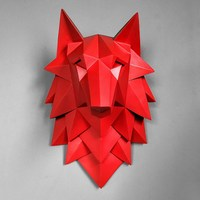 35CM Geometry 3D Wolf Head Wall Decoration Hanging Wall Animal Head Resin Pendant Resin Wall Ornaments Home Accessories R275