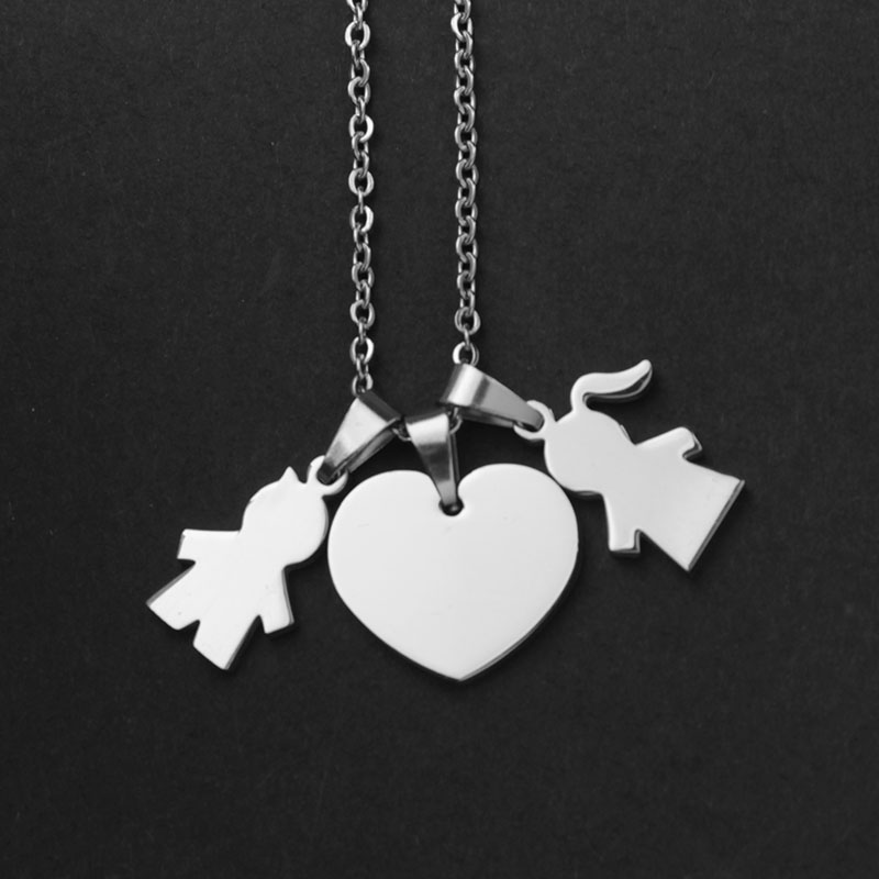 SKYHAI Stainless Steel Family Necklace Boy And Girl Love Necklace Couple Heart Pendant Necklace Jewelry