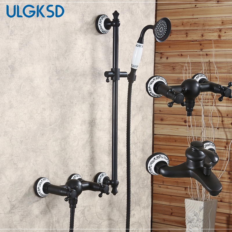 ULGKSD Shower Faucet handshower dual switch oil rubbed bronze shower set system mixing valve mixer water tap for bathroom ulgksd 5 pcs bathtub faucet oil rubbed bronze waterfall spout mixer taps bathroom shower faucet w handshower