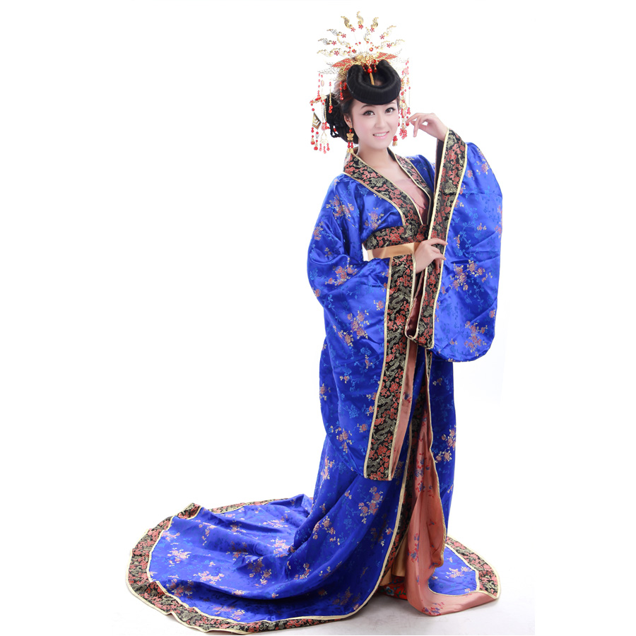 2018 New Chinese Ancient Clothing Costume Tang Suit Hanfu Stage Clothes Costume Tang Train Magnificently
