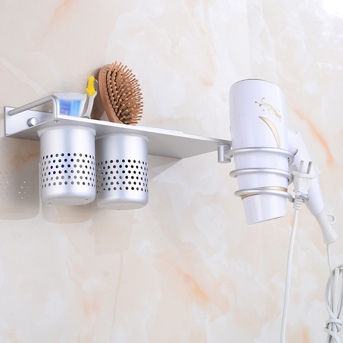 Wall Mounted Aluminum Hair Dryer Holder Storage Rack Stand Organizer with Basket Wall Mounted Aluminum Hair Dryer Holder Storage Rack Stand Organizer with Basket