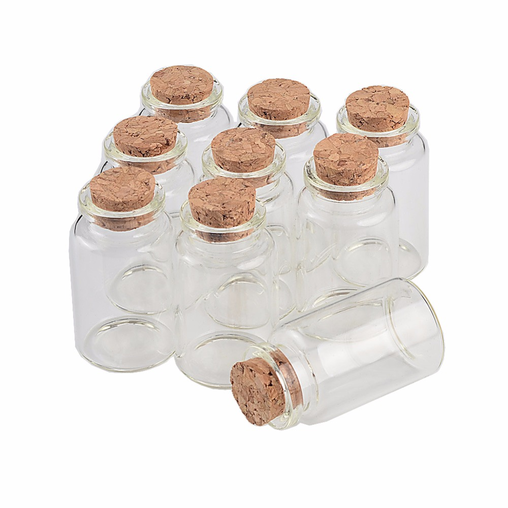 20ML Cute Mini Glass Bottles Containers Jars With Cork  Cute Empty Bottles Jewelry Oil Powder Gift Packaging Containers 50pcs