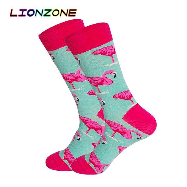 87dd3e22e0dbc LIONZONE Men Happy Socks Art Painting Flamingo Zebra 5Colors Combed Cotton  Hip-hop Funny Long Socks Chaussettes Homme Fantaisie