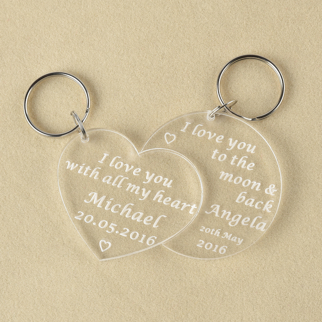 Set Of Personalised Engraved Moon Back Valentines Day Love Heart