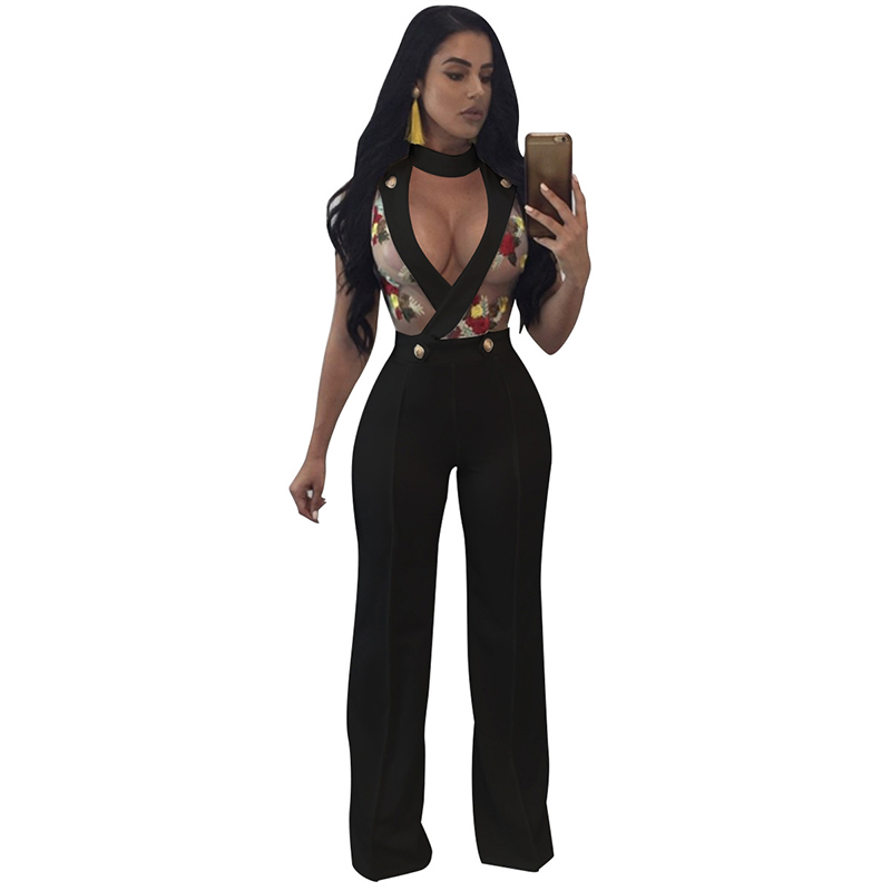 Dream Vine Ladies Embroidery Rompers Womens Jumpsuit Hollow Out See Through Slim Body Party Overalls Sexy Wide Leg Jumpsuit