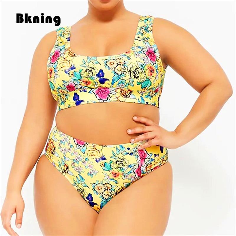 b396bc43a19 Plus Size Swimsuit High Waist Bikini Women Swimwear Large Bandeau Bathing  Suits Yellow Floral Strappy Swiming