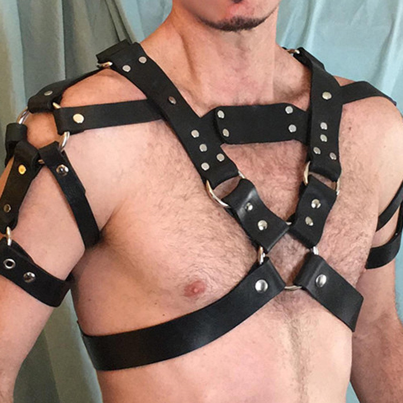 MSemis Harness Mens Bondage Leather Harness Men Rivet Studs Body Chest Shoulder Half Harness Belt Gay Bondage Cosplay Costumes