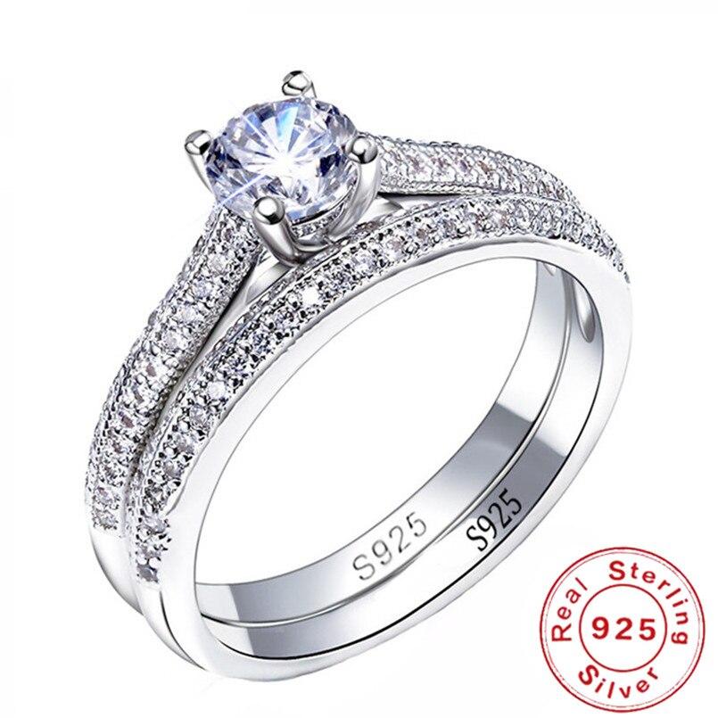 2019 Neuestes Design 100% 925 Sterling Silber Ringe Für Frauen Doppel Einfach Design Ring Bijoux Femme Braut Hochzeit Schmuck Engagement Zubehör