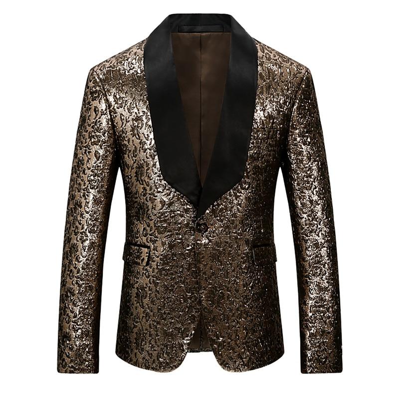 YFFUSHI 2018 Stylish Men Suit Jacket Leopard Print Snake Print One Button Blazer Fashion Design Casual Style Slim Fit