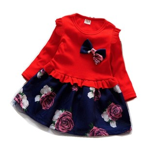 Autumn Winter Flower Knit Dress for Girl Clothing Pullover baby girl dresses Birthday Party Clothes Kids Bebe Christmas Costume(China)