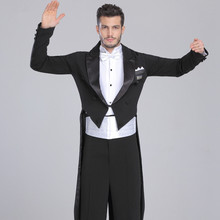 Males's Ballroom Dance Costumes Go well with Swallow-tailed Coat Shirt Pants three Items With Normal Efficiency Dancewear 2015 New Arrival