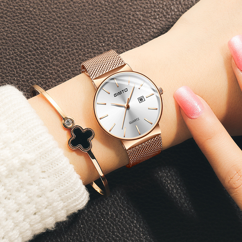 GIMTO 2018 Dress Bracelet Women Watches Rose Gold Steel Date Quartz Ladies Wristwatch Luxury Brand Female Clock relogio feminino shengke women watches luxury leather strap quartz ladies watch simple fashion female bracelet wristwatch clock relogio feminino