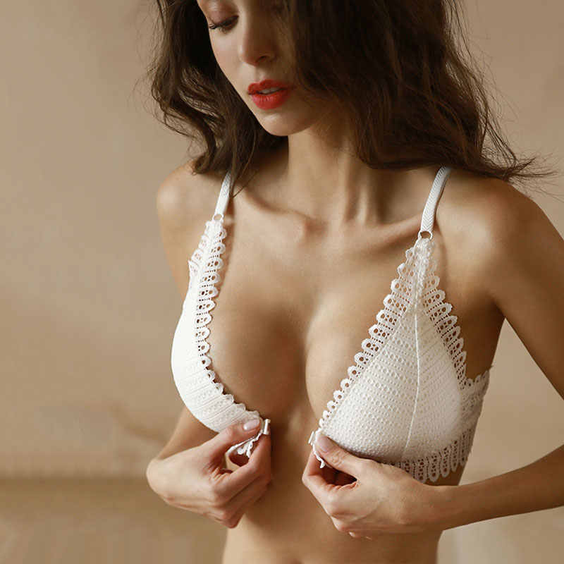DERUILADY Sexy Lace Wireless Front Closure Bra Women Sexy Lingerie Adjusted Push Up Bra Comfort Breathable Backless Bralette