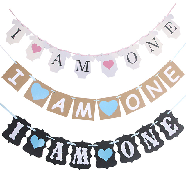 3m i am one banner baby boy girl 1st birthday party decorations baby