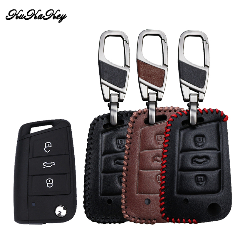 Leather Car Key Case Cover For Skoda Octavia combi A7 For SEAT Leon Ibiza Cuptra For Polo 2016 Golf 7 MK7 Key Portect Case in Key Case for Car from Automobiles Motorcycles