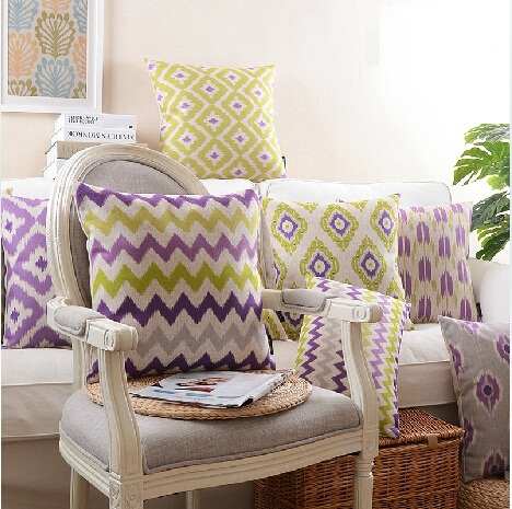 Geometric Cushion Covers Yellow And Purple Good Quality Linen Cotton Custom Pillow Cases 45x45cm 30x50cm Wavy Stripe Pillows In Cover From Home