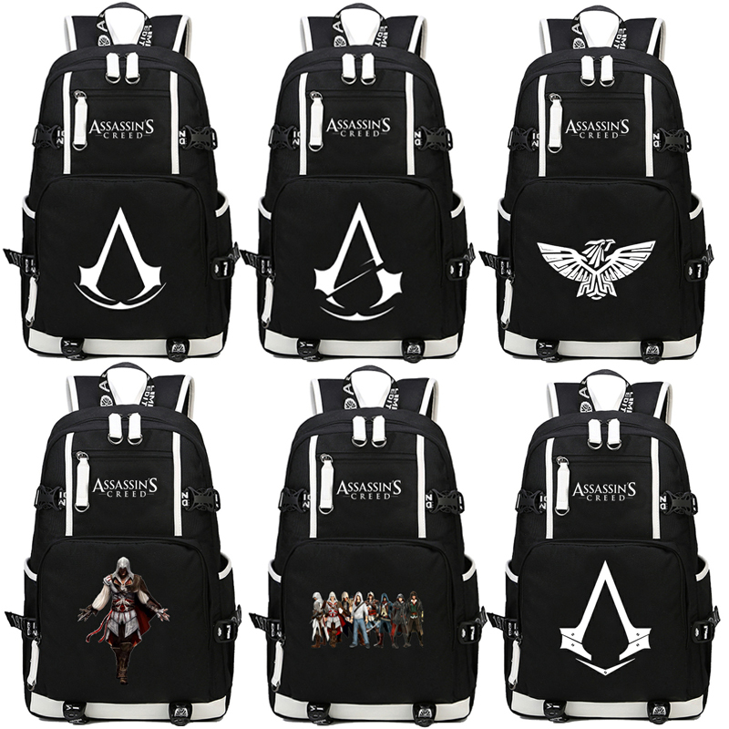 HOT Game Assassins Creed casual backpack teenagers Men women Student School Bags travel Shoulder Bag Laptop Bags bookbag charles perrault kaunitar ja koletis