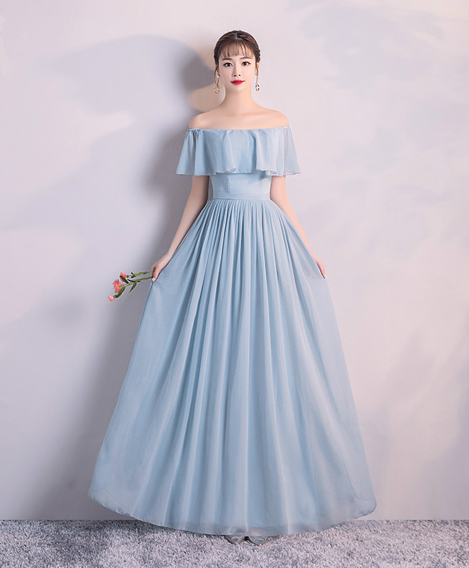 Bridesmaid  Dress For Wedding Party   Blue Long Dress  Chiffon Dress