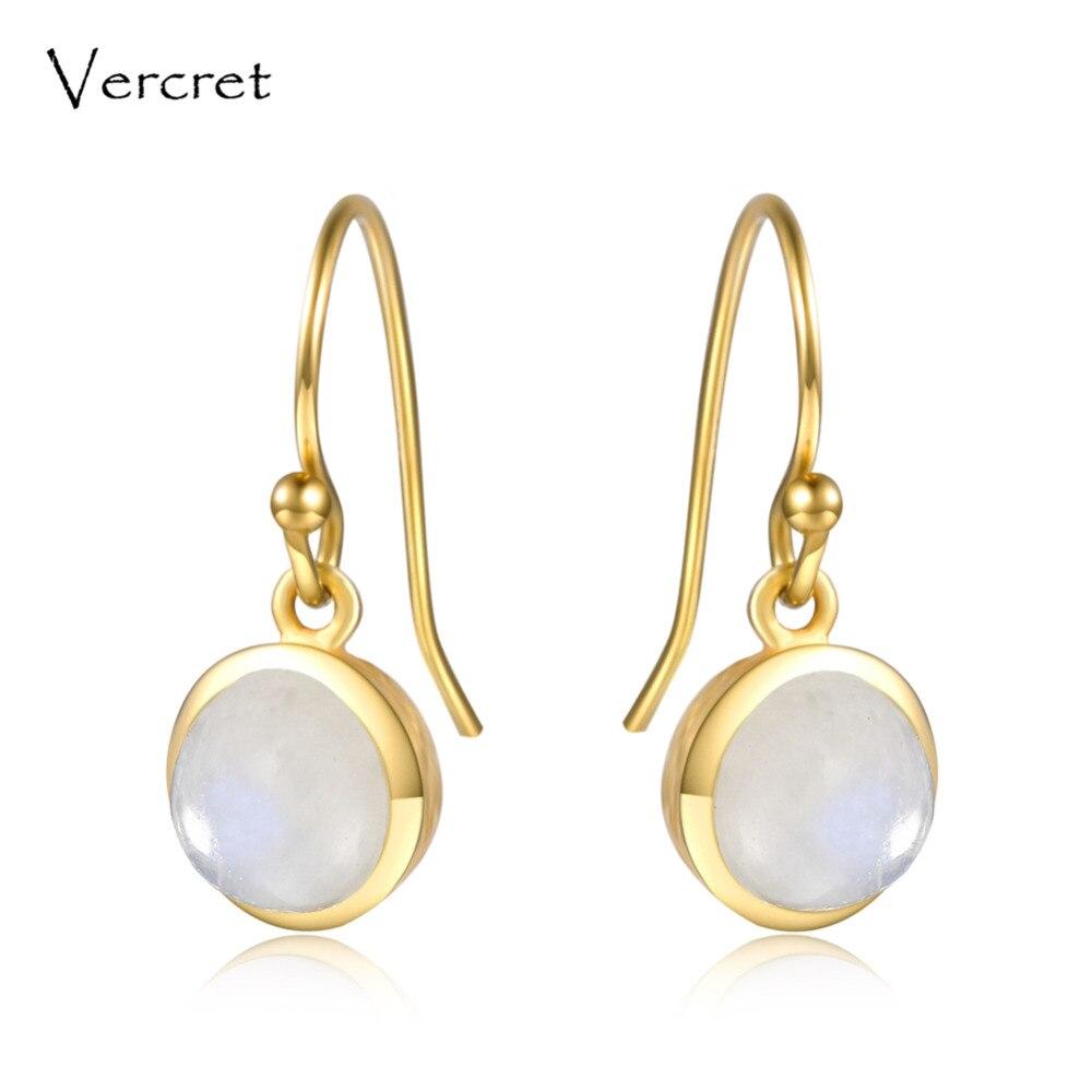 цена на Vercret romantic rainbow moonstone dangle earrings 18k gold 925 sterling silver fine jewelry earring for women gifts sp presale