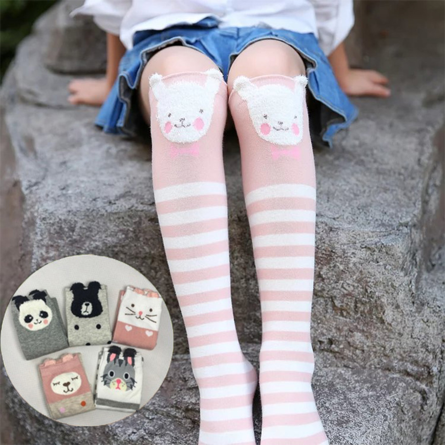Kids Girls Socks Soft Cotton 2-12 Years Leg Warmers Animals Cartoon Knee High Sock Toddler Kids Dancing Socks Warmer Dance Socks