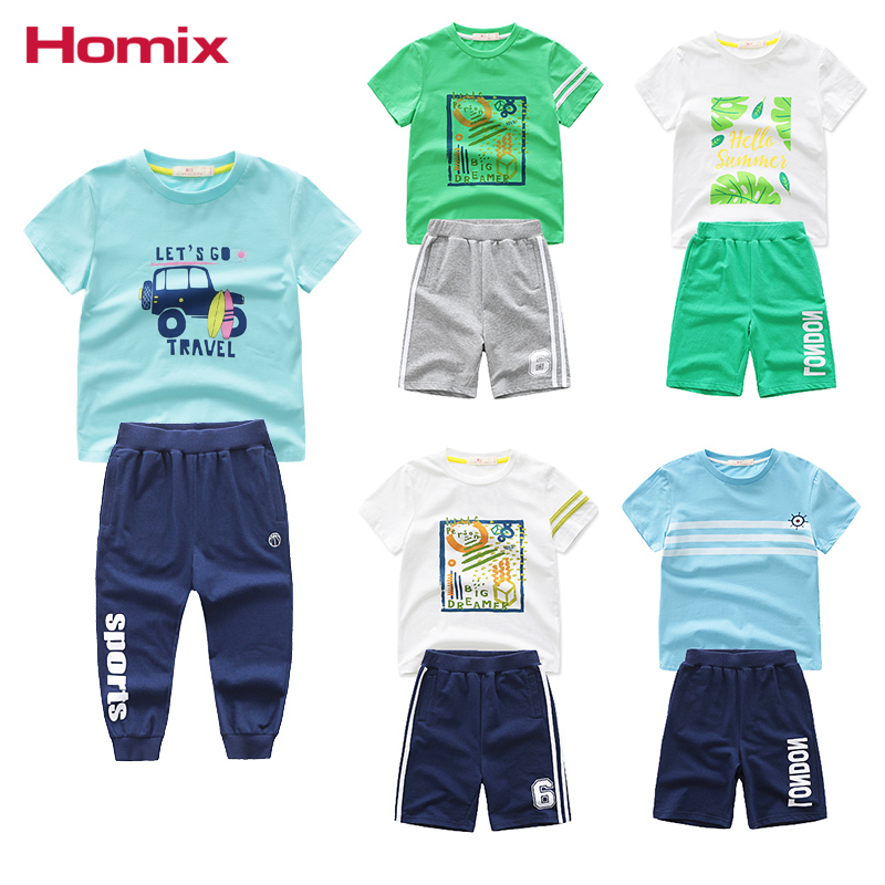 Homix Boys Summer Clothing Sets T-shirts and Shorts/Joggers Sports Sweat Sets Children C ...