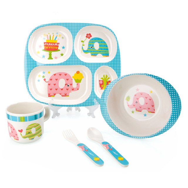 Bamboo Fiber Children Tableware Baby Dishes Kids Dinnerware Plate Bowl Cup Fork Spoon Baby Feeding Set For Toddlers Dishes Plate