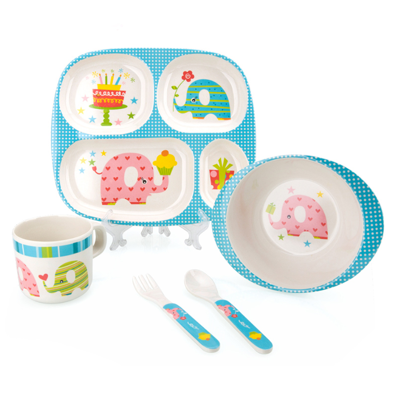 Fibre de bambou enfants vaisselle bébé vaisselle enfants vaisselle assiette bol tasse fourchette cuillère bébé alimentation ensemble pour les tout-petits vaisselle assiette