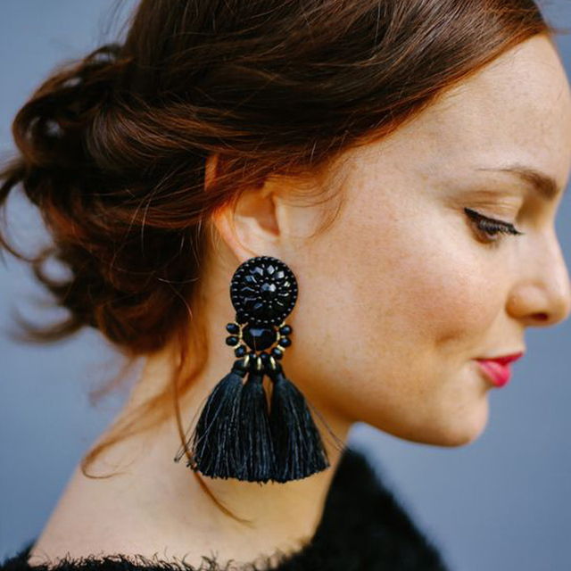 JUJIA 2019 Women Ethnic Vintage Long Dangle Fringe Earrings Boho Indian Jewelry Statement Tassel Drop Earrings pendientes brinco