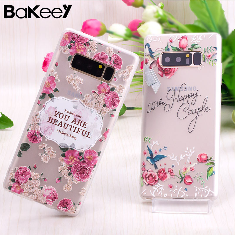 Bakeey for Samsung-Galaxy Note 8 3D Relief Printing Flower Case girls Soft Silicone Protective Cover Case Back Shell Beautiful