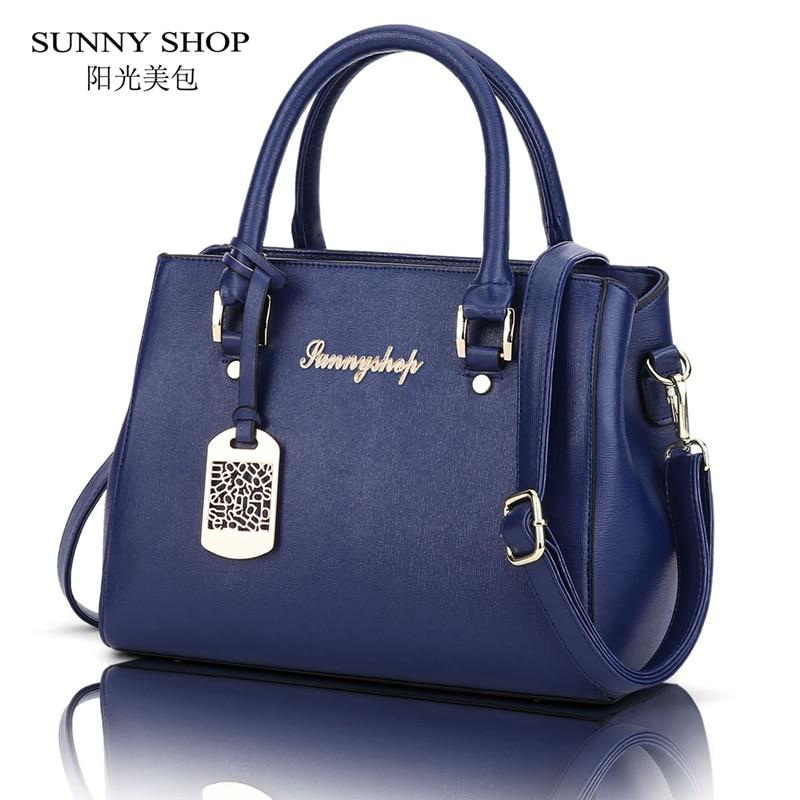 ФОТО SUNNY SHOP 2017 New Casual Woman Bag High Quality Designer PU Leather Women-messenger-bags Fashion Lady Handbags Black