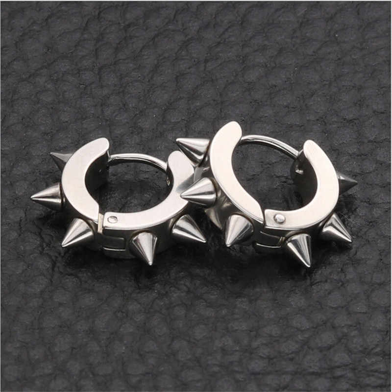 1pcs Silver Black Gold Color Gothic Punk Stud Earrings For Women & Men Stainless Steel Rivet Spike Earrings Rock Party Jewelry