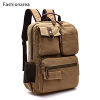 NEW Style Men Canvas Leather Backpack Bag Korean Middle School Bag For Teenager Boys Bag Computer