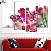 משלוח חינם 4 פנלים הפרפר היפה סחלב HD תמונת קיר אמנות בד יצירות אמנות ציור הדפס בד סיטונאי