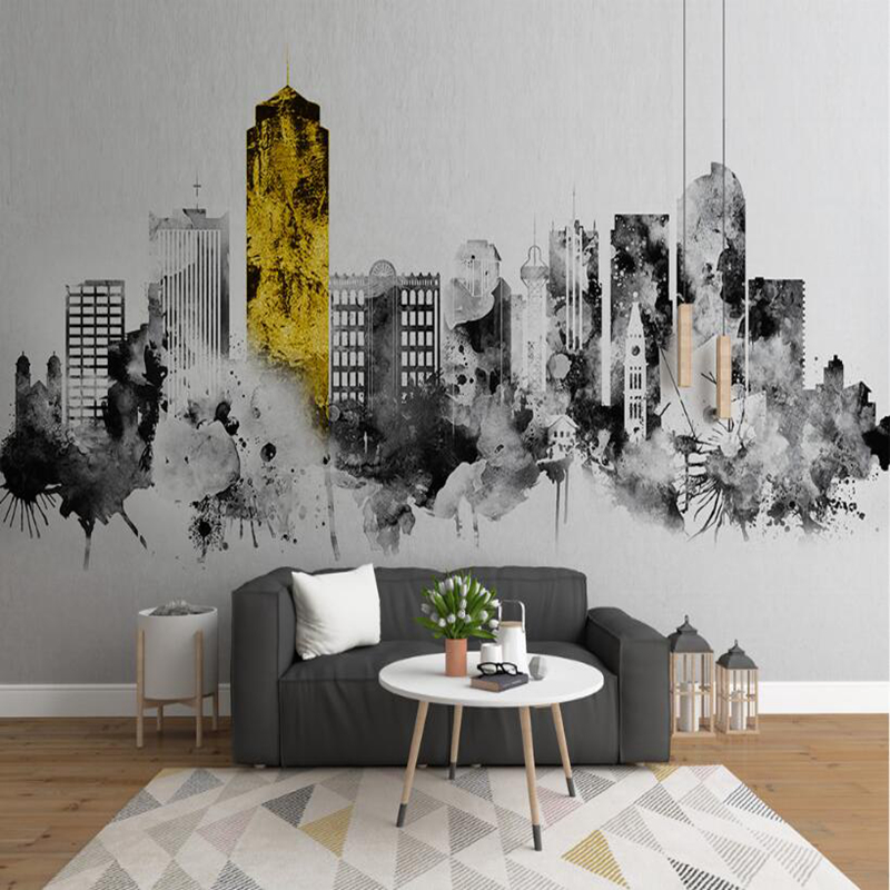 YOUMAN Photo Custom 3D Wallpaper 3d Wall Murals Abstract Ink City Architecture 3d Stereoscopic Wallpaper Decor Coffee Shop Black custom london red bus city view wallpaper личность ретро кафе гостиная фон 3d обои на рабочий стол обои домашний декор