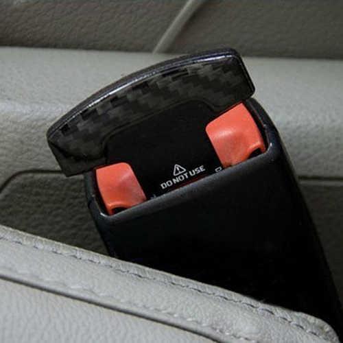 2 piezas de seguridad hebillas de cinturón de fibra de carbono Real de asiento de coche de seguridad cinturón de alarma cancelador tapón Interior Accesorios