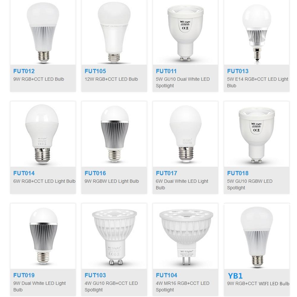 Milight FUT103/FUT104/FUT013/FUT014/FUT105/FUT012/FUT016/FUT011/FUT017/FUT018/FUT019 YB1 5W 9W 12W GU10 E27 LED Blub Spotlight