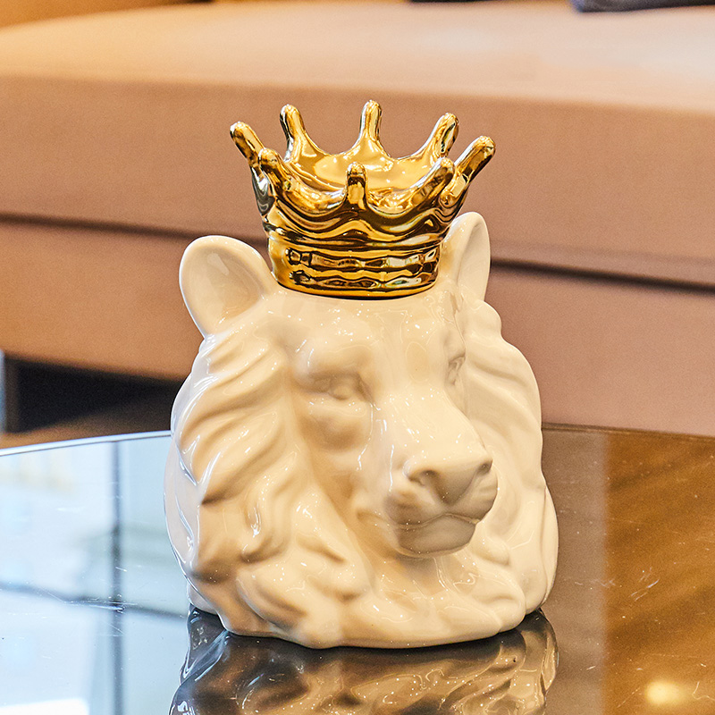 Ceramic Home Decoration Accessories Gold Crown Lion For Living Room Party Bar House Office Decorative Fox Bear Storage Organizer in Figurines Miniatures from Home Garden
