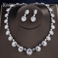 RAKOL Oval Round Cubic Zirconia Flowers Necklace Earrings For Women Elegant Blue Crystal Female Dinner Dress Jewelry Set