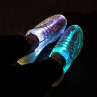 Luminous Fiber Optic Fabric Light Up Shoes 11 Colors Flashing White Teenager Girls Boys USB Rechargeable