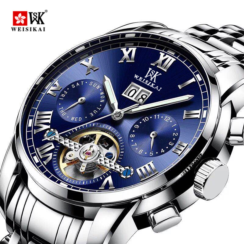ik colouring mens orologio uomo automatic wristwatch skeleton steampunk wrist watch stainless steel band male clock montre homme WEISIKAI Reloj Automatic Watch Men Stainless Steel Mechanical Wristwatches Mens Waterproof Wristwatch Male Clock montre homme