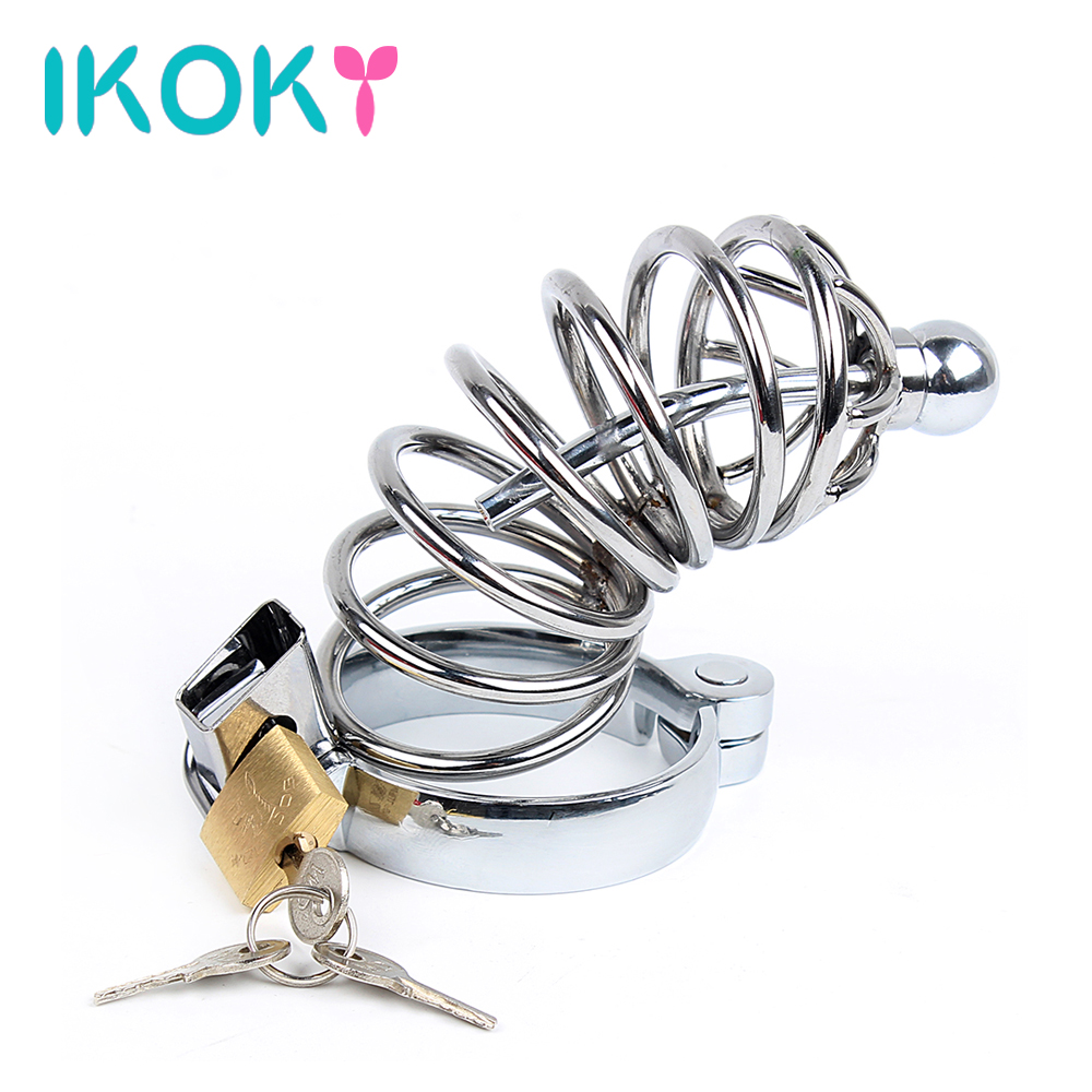 IKOKY Penis Cock Ring Sleeve Lockable Cock Lock Sex Toys For Men Male Chastity Device Penis Cage With Catheter Stainless Steel 2017 top fashion stainless steel urethral catheter male chastity cage device arc cock ring penis lock cages sex toy for men dick