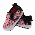 new born  baby girl pink canvas printing mouse black butterfly-knot soft sloe first walkers home shoes size 2 3 4 in US hy333