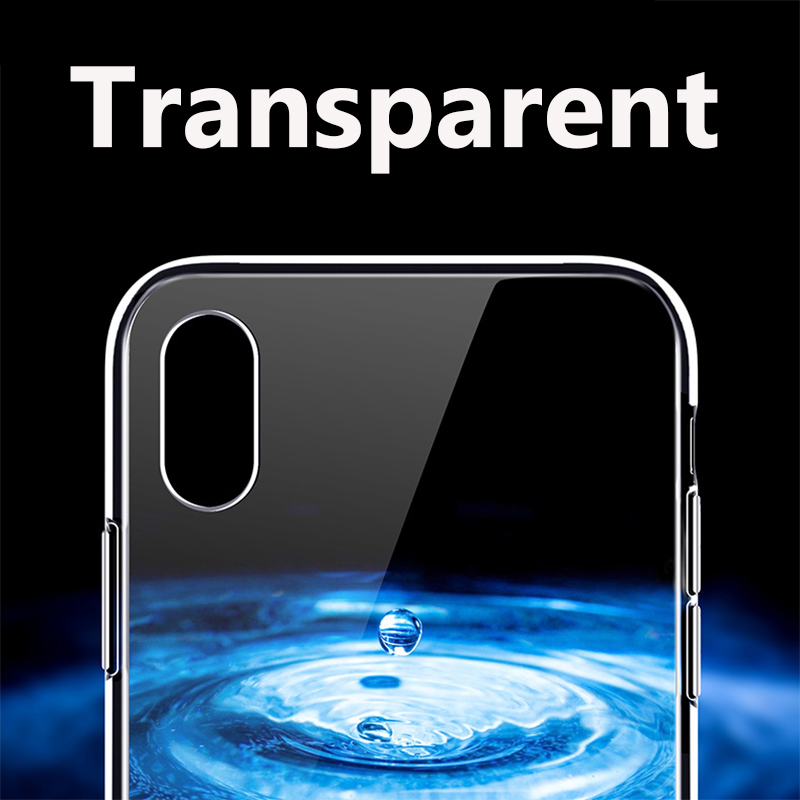 Suntaiho Ultra Thin Transparent Glass Case For iPhone 7 plus XR Cases Luxury Back Glass For iPhone XS MAX 8 plus Cover Soft Edge